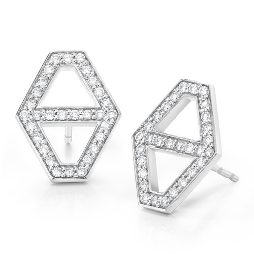 earrings diamond halo gold stud white
