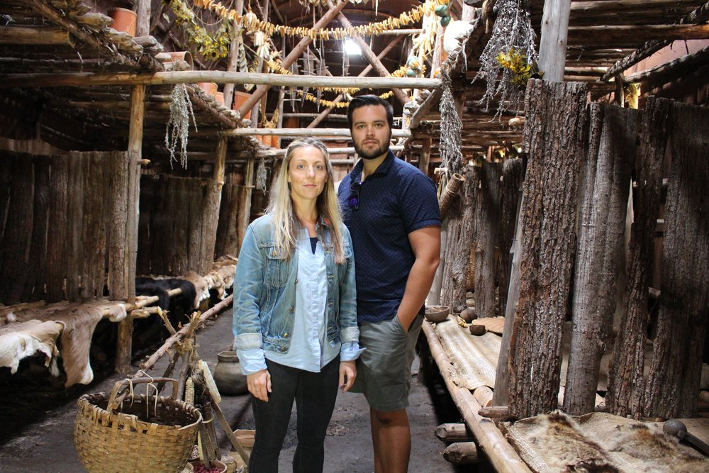 Co-creators  Julie McIsaac  and  Corey Payette  in a reconstructed Iroquois long-house circa 1450 in Tsiionhiakwatha Archeaological Site, Saint-Anicet, Quebec. Thanks to Michel Cadieux (Archaeologist) for his hosting.