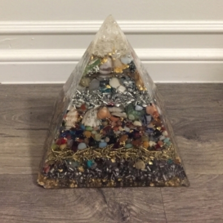 Orgone Pyramid which helps neutralize harmful EMF radiation from electronics, wifi, phones, etc. Learn more about the history of orgone in the podcast link above!