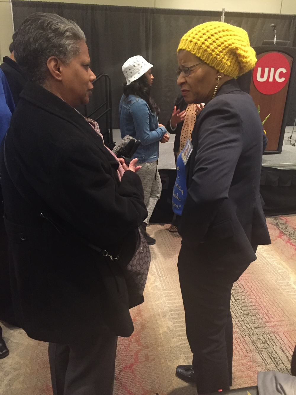 My mother, Lois Stone, talking to Geneva Reed Veal at UIC (February 2016)