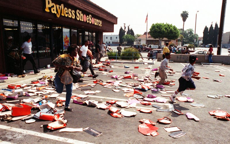 A Payless Shoe store, ran through by rioters in