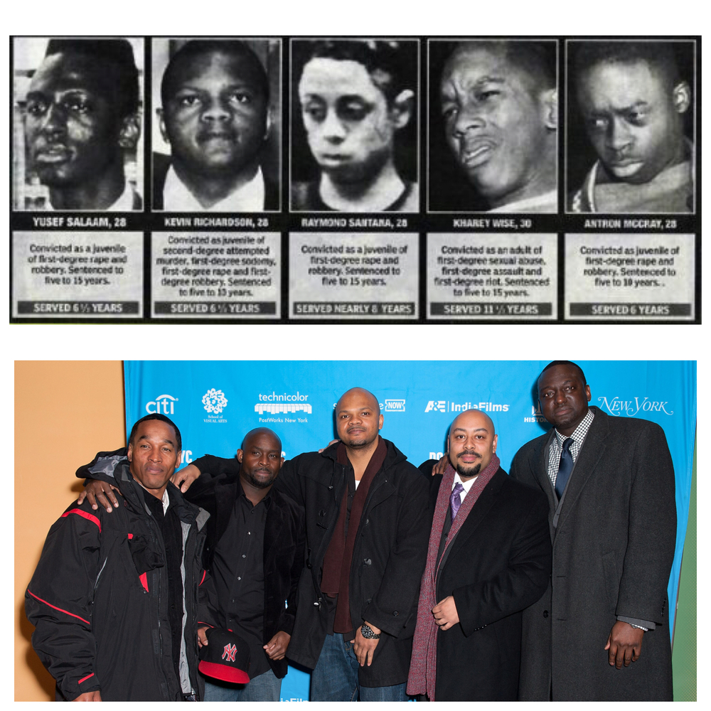 Above: Newspaper clips of Central Park 5 boys. Below: (from left to right) Kharey Wise, Antron McCray, Kevin Richardson, Raymond Santana, and Yusef Salaam.