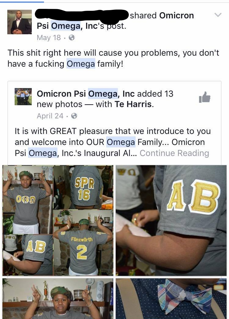 A Facebook users comments about Omicron Psi Omega