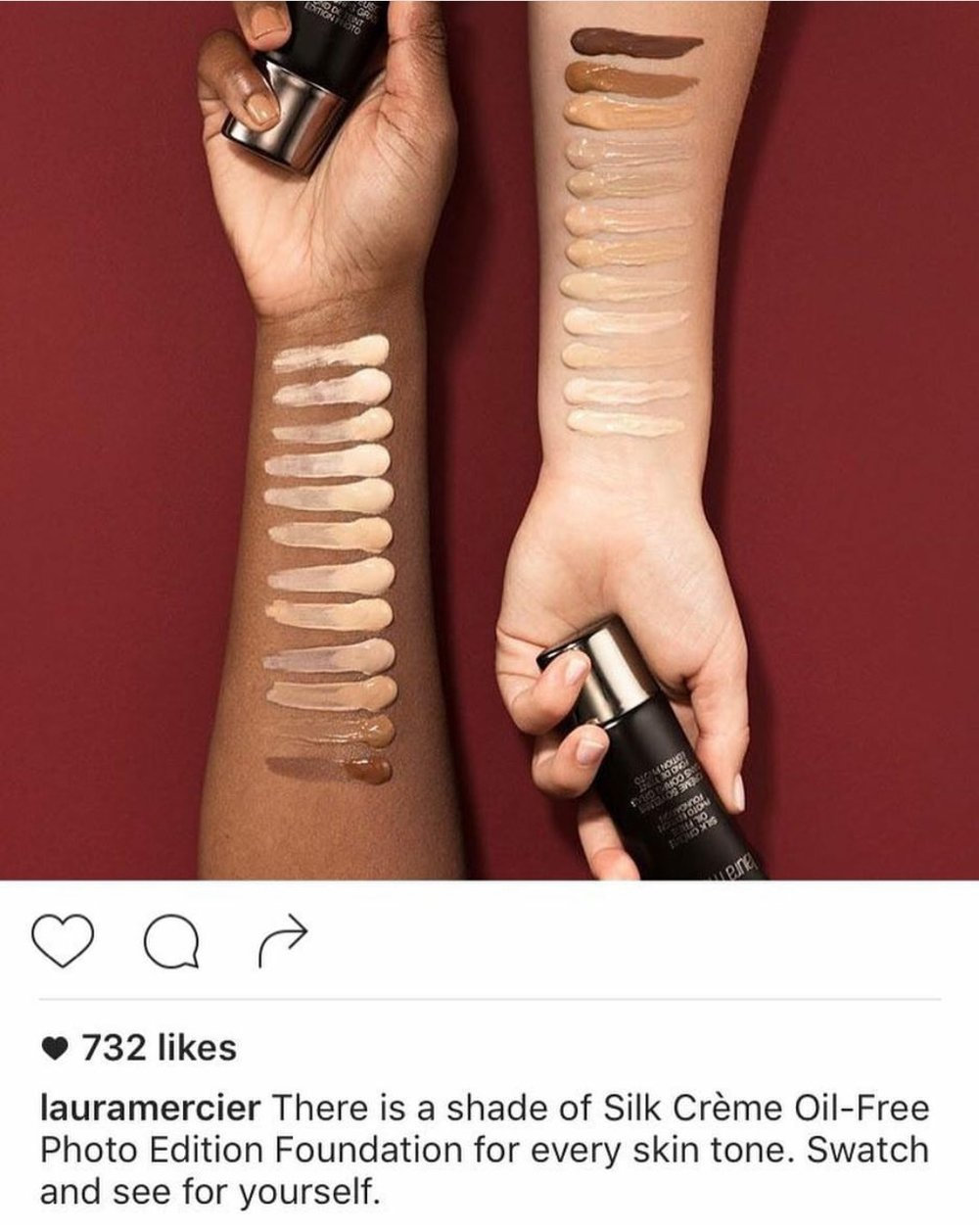 The Instagram post for Laura Mercier's page.