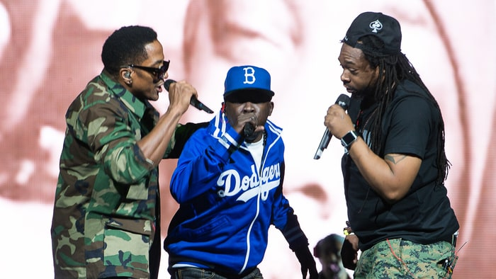 A Tribe Called Quest performing at a show