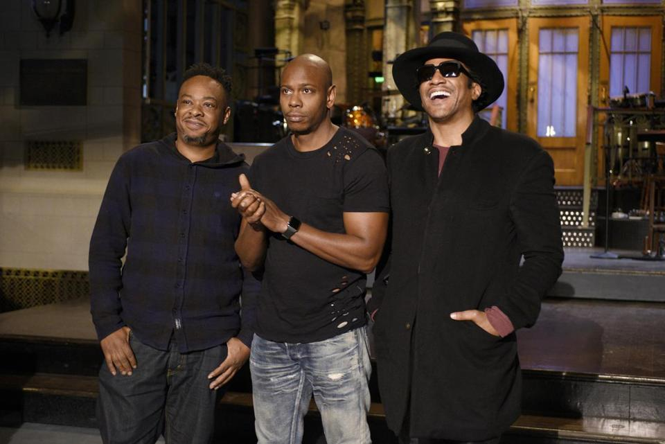 A Tribe Called Quest with Dave Chappelle during their SNL appearance.