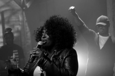Angie Stone performing during the Soul Cypher.