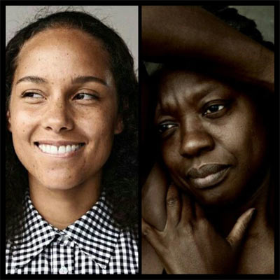 Alicia Keys received praised for wearing no make-up, while many shamed Viola Davis for doing the same.
