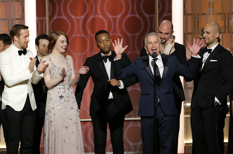 The cast of  La La Land  enjoying their win at the Golden Globes