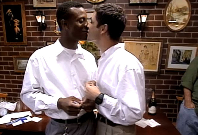 Pedro Zamora marrying his partner, Sean  , during an episode of  The Real World: San Francisco . It's one of the most celebrated moments in television history.