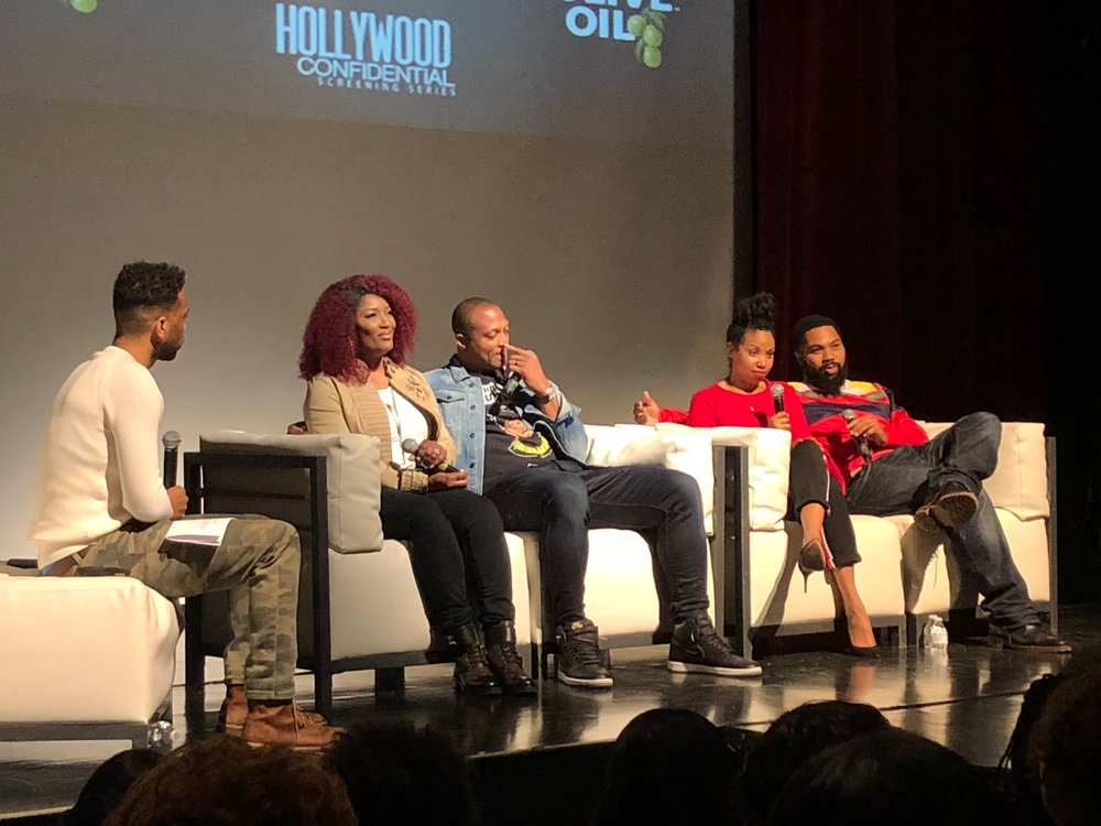 (left to right) Trey White from 107.5 WGCI, Taj George, Eddie George, Codie Oliver, and Tommy Oliver.