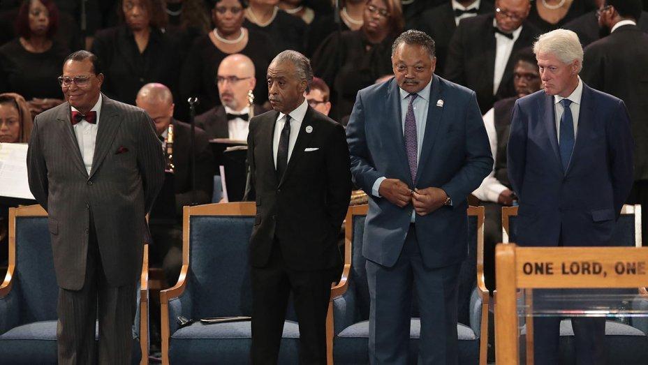 (from left to right) Minister Louis Farrakhan, Rev. Al Sharpton, Rev. Jesse Jackson, President Bill Clinton. (Source: HollywoodReporter.com)