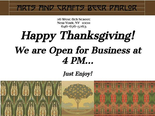 Heya Folks! We wanted to wish you a Happy Thanksgiving, and let you know our Greenwich Village location will be open on Thursday at 4pm! . . #justenjoy #acbpnyc #craftbeer #craftnotcrap #coldbeer #properglassware #craftbeerlove #thanksgiving #open #yesweareopen #holidaybeersanyone #madeon8thstreet #greenwichvillageny #nyc🗽