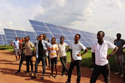 Students in Solar Field