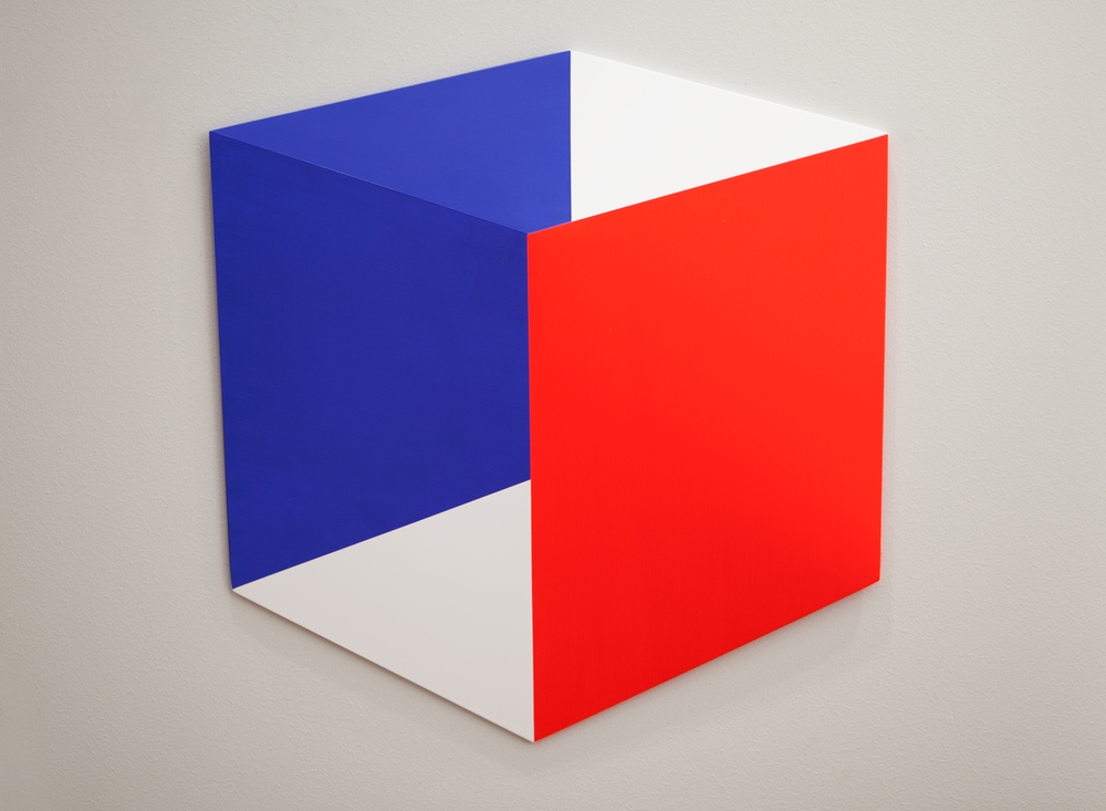 Red Blue Parallels #1 2014 Acrylic on panel 19x 20 x 2 in (48 x 51 x 5 cm)