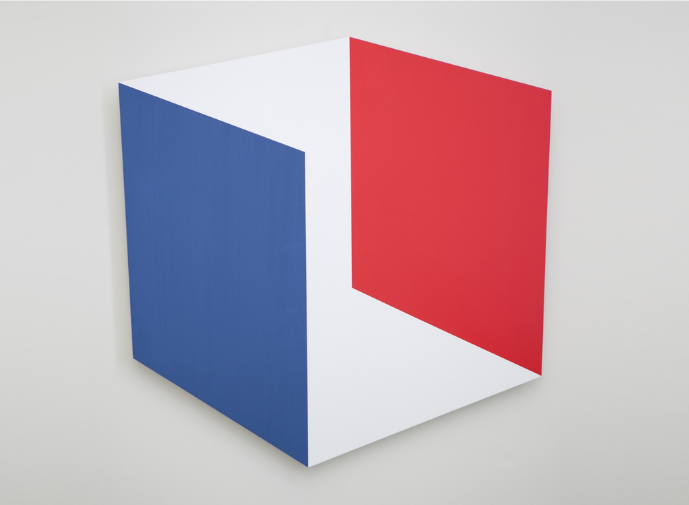 Red Blue Parallels #2 2014 Acrylic on panel 36 x 36 in / 91 x 91 cm