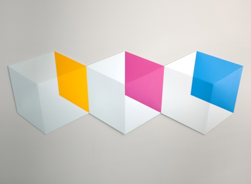Yellow Pink Blue  2014 Acrylic on panel 62 x 22 x 2 in (158 x 56 x 5 cm)