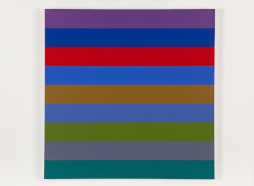 Nine Stripes #1  2014 Acrylic on canvas 36 x 36 in / 152.4 x 152.4 cm