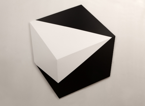 Untitled Black and white  2014 Acrylic on panel 20 x 22 x 2 in (51 x 56 x 5 cm)