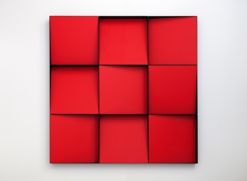 Fire  2015 Edition of three Acrylic on panels Nine boxes, each is 19 x 19 x 4 in. (total size: 57 x 57 in)