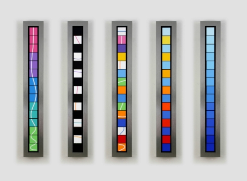 Towers with Blues   2006 Brushed aluminum, acrylic, mixed media 8.5 x 58 x 3.5 in. / 147 x 21.5 x 9 cm.    Edition of six  4 Sold