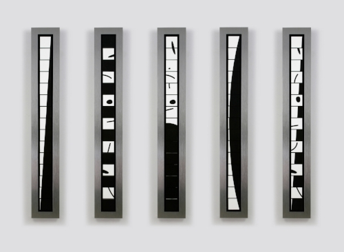 Towers in Black and White   2006 Brushed aluminum, acrylic, mixed media 8.5 x 58 x 3.5 in. / 147 x 21.5 x 9 cm.    Edition of five  2 Sold
