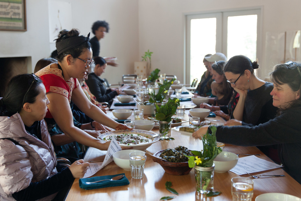 Sita starts off the workshop with the first plate.  Photo by Tina Case