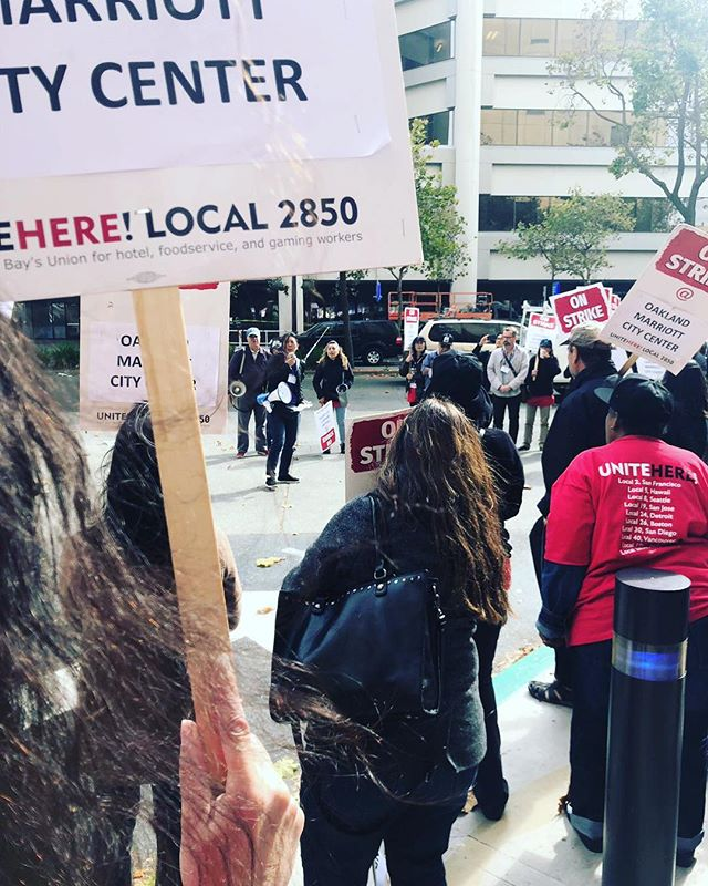 🙌🏾🙌🏾🙌🏾 Can we get a hell yes for workers on the picket line? Join them across the country! 800+ room nights canceled so far. . Thank you @nonogirlradio and @unitehere @unitehere_oakland for all the work that you do! . #peopleskitchencollective  #onejobshouldbeenough @unitehere #mariottstrike #1job