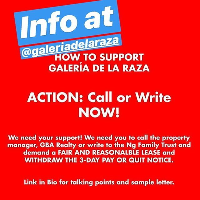 Please take a few minutes to write and call in support of @galeriadelaraza . An institution that has been in its current home on 24th st for 46 years, the presence of Galeria is critical. PKC currently has a piece in the current exhibition Comida es Medicina, closed due to their imminent displacement. In love and solidarity, PKC #galeriadelaraza #sanfrancisco #mission