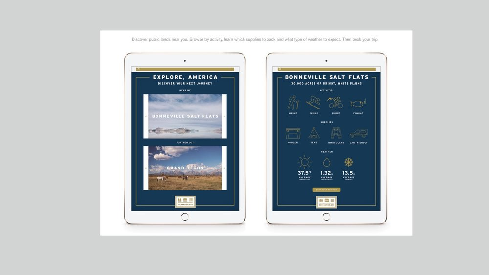 Rec.gov  app that assists people in located and reserving a favorite camping spot in one of our national parks.