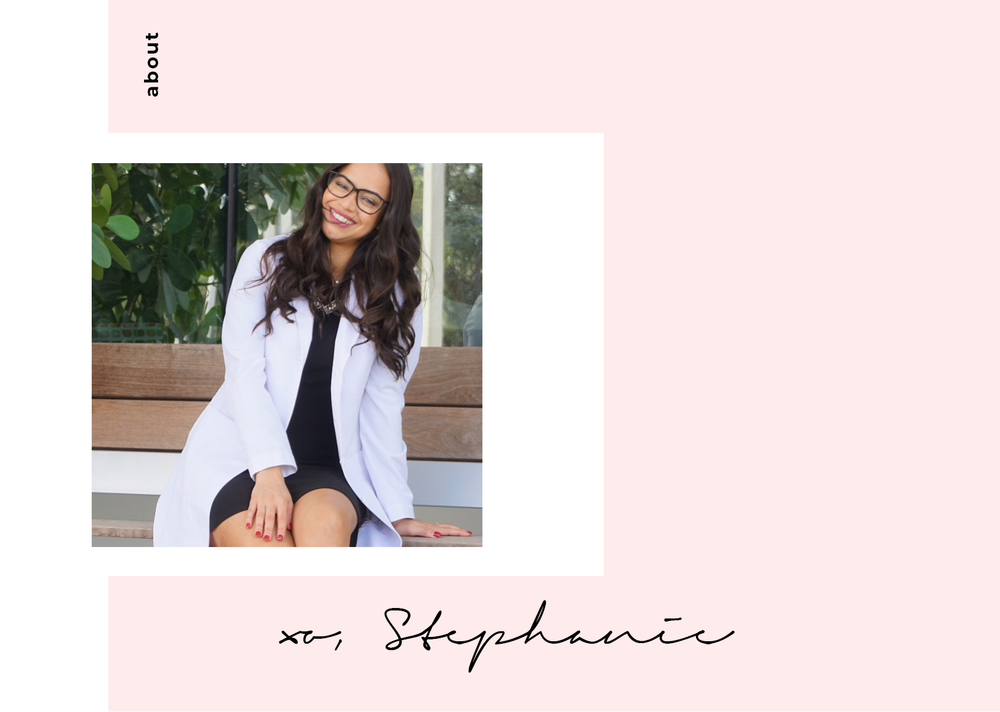 "- Welcome to my blog! My name is Stephanie. I'm a dermatology physician assistant (PA-C). I went to the University of Florida for both my bachelor degree and for master degree in physician assistant studies. I graduated from PA school in 2014 and then I worked in family medicine for 3 years before transitioning into dermatology.I'm passionate about skincare and helping people look and feel their best inside & out! I also love fashion. I made this blog as a creative outlet to write about skincare and products that I love, to display my ""white coat style,"" and to spread awareness of the PA profession."