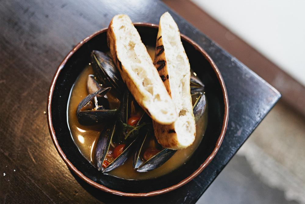 Chilli and coriander broth, mussels + crusty bread