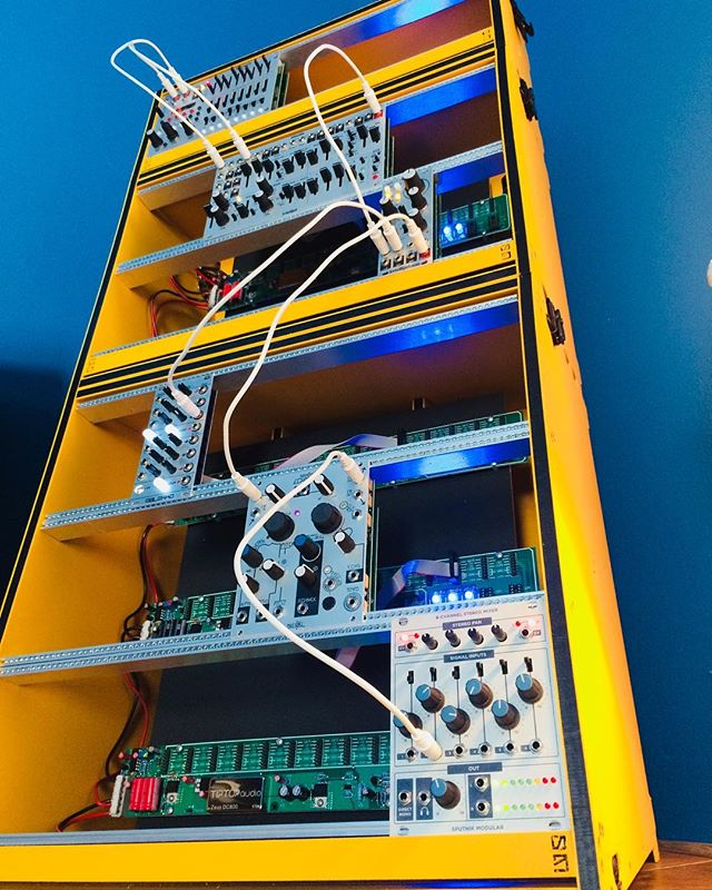 """SM MORPH stack 0001 (affectionately known to us as """"Big Bird"""") has shipped! We're thrilled to send it off to such a good home. Enjoy! . . . #modular #synth #eurorack #synthesizer #eurorackcase #edm #industrial #modularsynth #modularsynthesizer"""