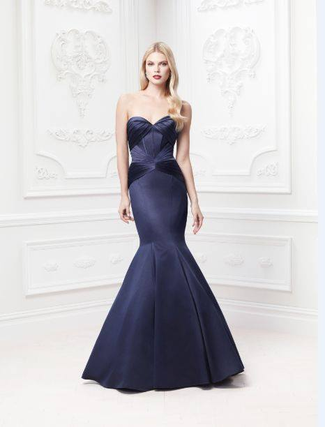 Long Strapless Satin Fit and Flare Dress Style