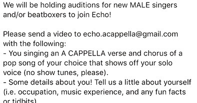 #audition #alert! We are looking for #malesingers and #beatboxers to join @echoacappella! If interested, please send your audition videos to echo.acappella@gmail.com and follow the instructions in this post! Videos due 1/31.  We can't wait to hear you! . . . . . #auditions #nycauditions #acappella #acappellaaudition #singingauditions #maleauditions #performers