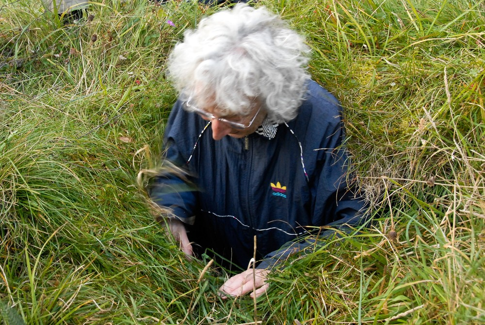 A hiker wriggles out of a souterrain hiding spot, which has two entrances on Patrick Nagle's farmland.