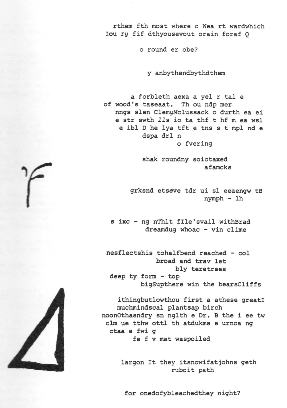 "Score for  John Cage's ""Empty Words"" (from Richard Kostelanetz's  Text-Sound Texts )."