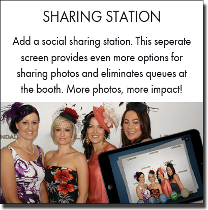 Add greater social capabilities by adding a sharing station with the photo booth. Sydney photo booth hire.