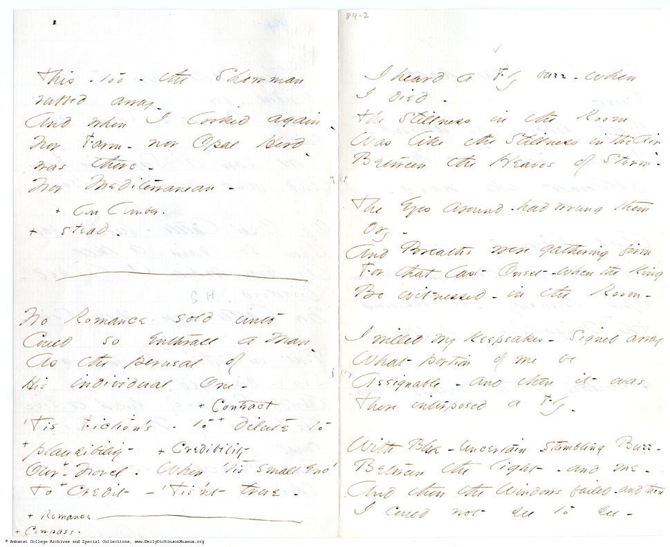 IMAGE: Original manuscript of Poem 465, 'I heard a Fly buzz – when I died'. Amherst College Archives and Special Collections.  https://www.emilydickinsonmuseum.org/emily_manuscripts