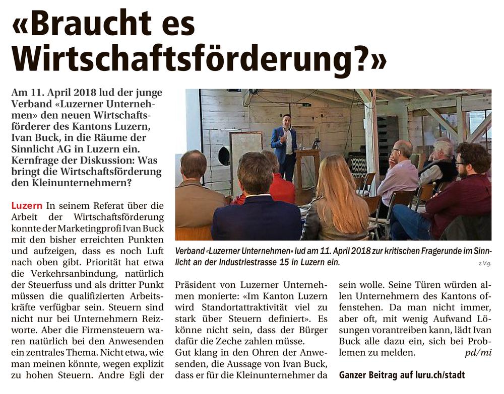 Artikel in der Luzerner Rundschau vom 20. April 2018. Ganzer Beitrag unter: http://www.luzerner-rundschau.ch/stadt/detail/article/braucht-es-wirtschaftsfoerderung-00139124/