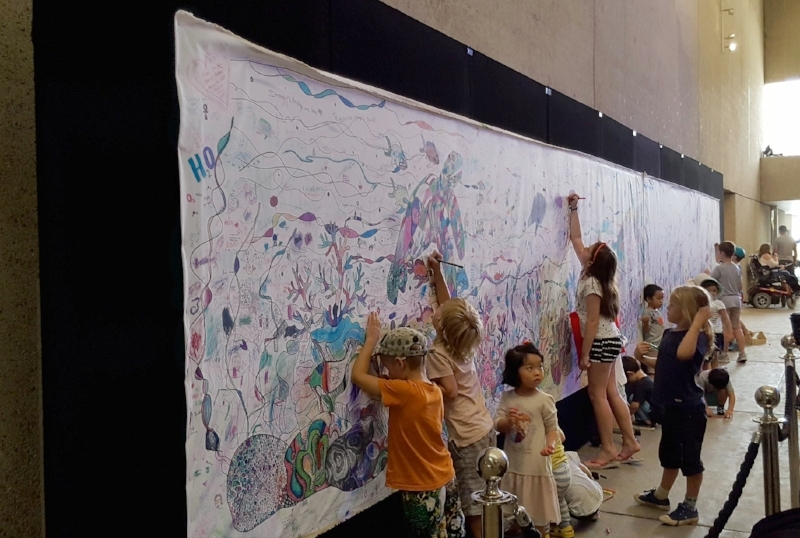 Coloring mural at the Queensland Museum