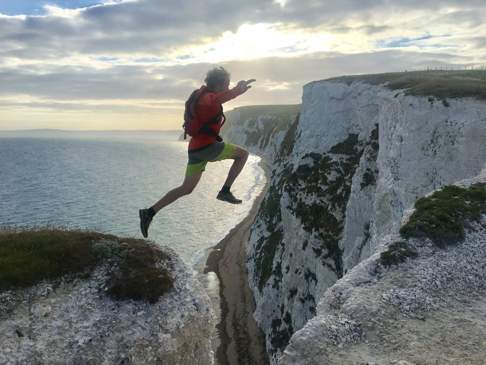 He's clearly had enough of this running malarkey. More chalk cliffs near White Nothe