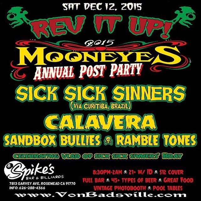 #SickSickSinners this Saturday at #SpikesBar w/ #Calavera & more!!! #OsCatalepticos #psychobilly #rockabilly #Mooneyes