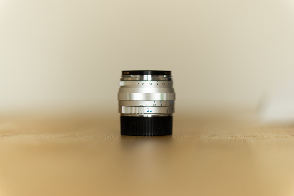 The dinky and venerable Zeiss C Sonnar 50mm lens