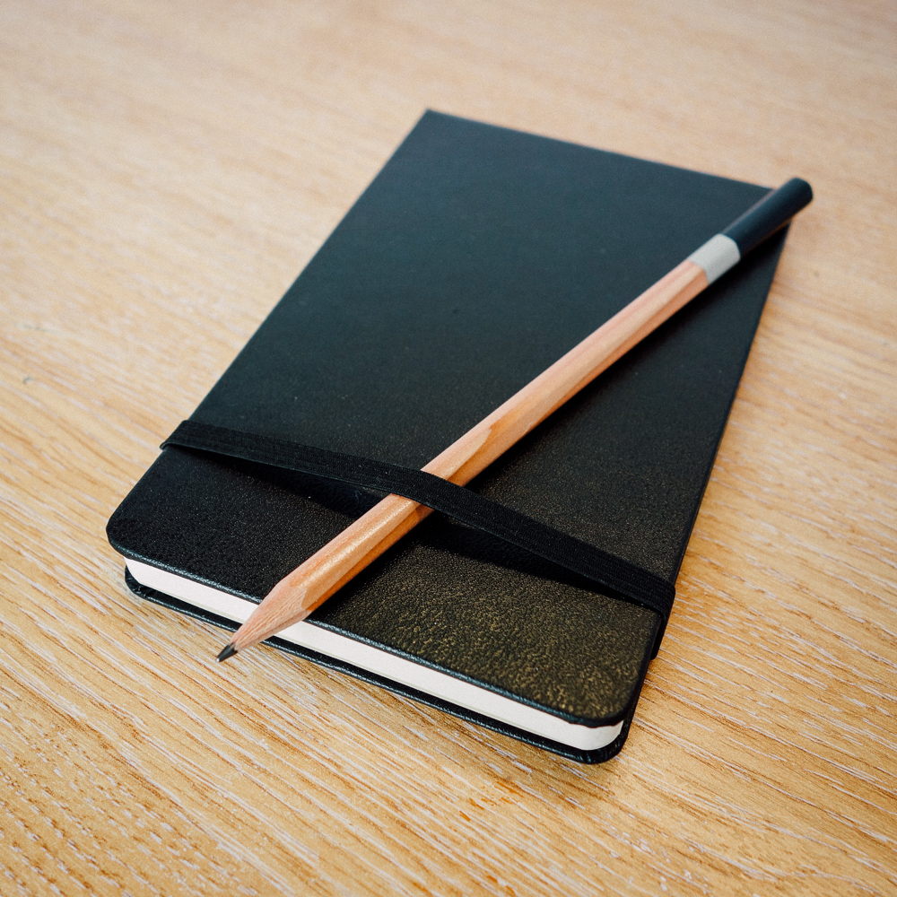My oddly pristine looking new moleskine notebook. A favourite old technology