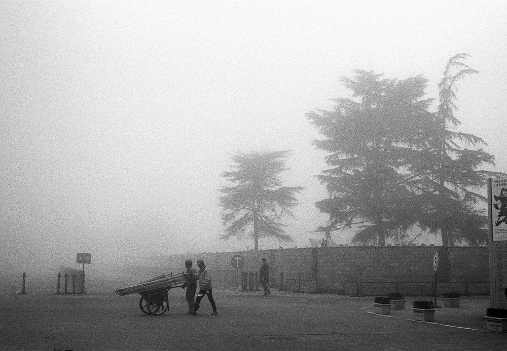 Builders in the Mist,  Leica M6TTL and HP5 Plus film exposed at 1600