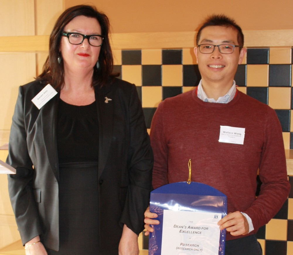 Dean of Science, Karen Day with Wallace Wong
