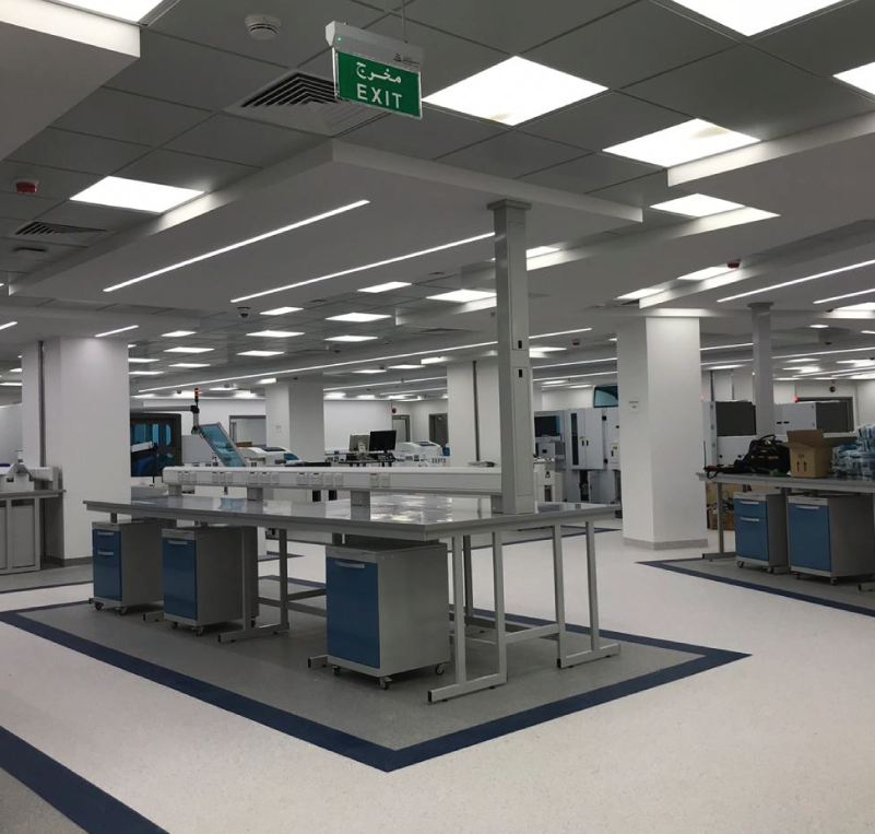 Automation Laboratory - Saudi ArabiaKing Saud Medical City hospital laboratory in Riyadh, Saudi Arabia Automation reference laboratory with Total Lab Automation