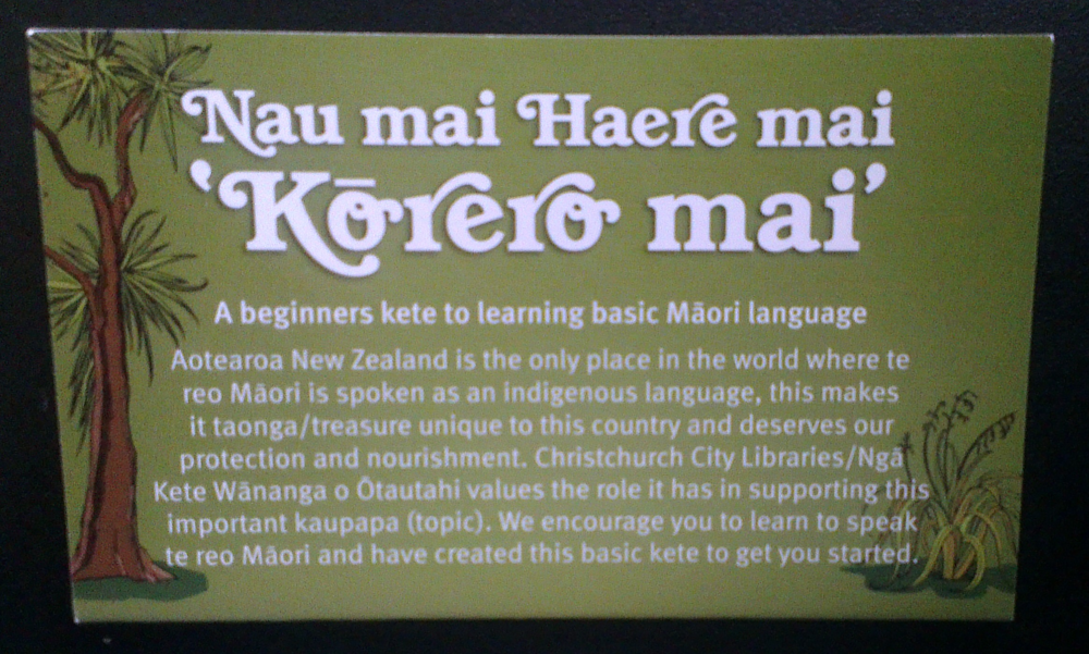 Kete distributed by Christchurch City Libraries during the Maori Language Week