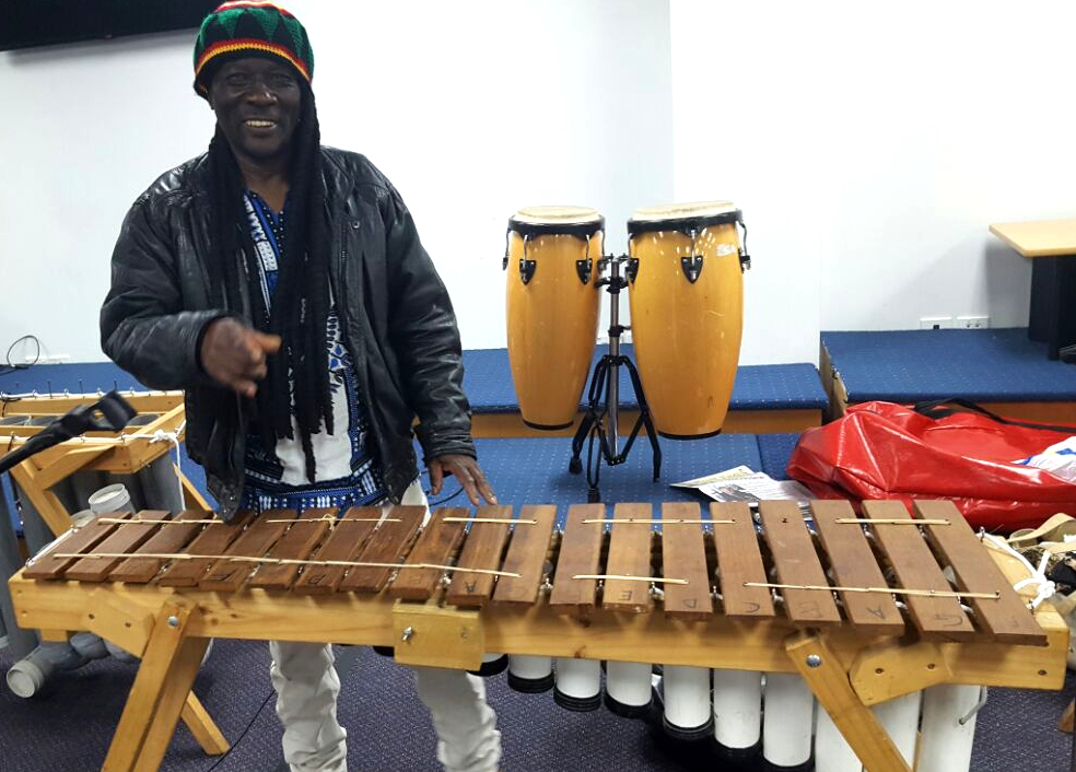 Joseph Chitongo and his musical band playing traditional Zimbabwean tunes and rhythms on Zimbabwe's traditional musical instruments including Marimba and Mbira
